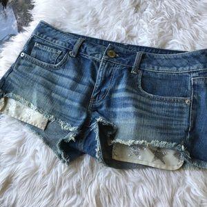 AEO size 8 sparkle glitter star pockets jean short